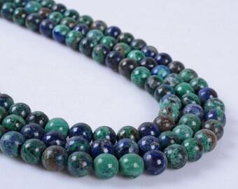 "6MM278 6mm  Azurite round ball loose gemstone beads 16"""