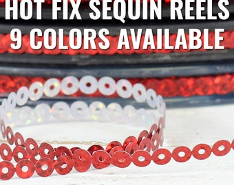 Hot Fix Sequin Reels - 90 Yd Rolls - 9 Colors Available - 4mm Chain - Threadart