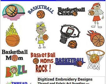 Embroidery Design Cd - Baskeball(1) - 13 Designs - 9 Formats - Threadart