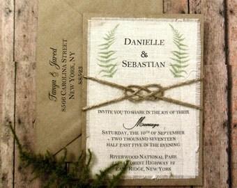 Fern Sage Pre Made Green Botanical Nature Rustic Custom Wedding Invitation - /Woodland Wedding Ideas
