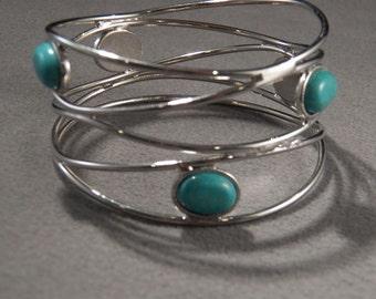 Vintage Silver Tone w/Faux Turquoise Stones Bracelet, Jewelry Southwestern Style So Cool!~~ **RL