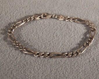 Vintage Sterling Silver Italian Bold Oblong Link Bracelet    **RL