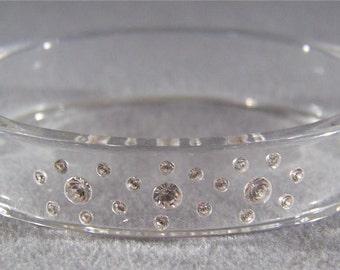 Vintage Retro Rhinestone Lucite Bold Bangle Bracelet Jewelry **RL