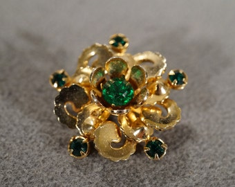 Vintage Art Deco Style Yellow Gold Tone Faux Emerald Round Glass Stone Pin Brooch Jewelry -K#72