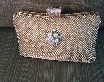 Rhinestone Cutch Bag, Gold Clutch, Gold Purse, Rhinestone Evening Bag, Wedding Accessories, Formal Clutch Bag