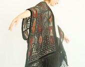 Velvet Kimono Sheer Jacket Fringe Jacket  Boho Kimono Sheer Kimono Black Siphon Coat Fringe Kimono Tassels Beach Cover geometric Caftan