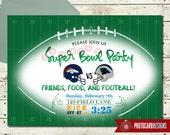 SUPERBOWL Party Invitation | Broncos | Panthers | invite | Digital | Sports | Super bowl | Party | Football | Invitation | Superbowl Invite