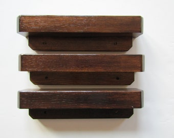 Set of Three Oak Wall Shelves