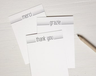 SALE Small note cards set of 9 mixed notecards thank you grazie merci