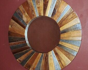 ROUND RECLAIMED BARN Wood Mirror