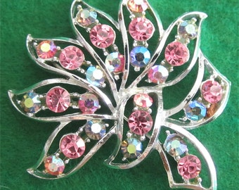 Gorgeous 1950's Pink Rhinestone Silver Tone Brooch Pin - Free Shipping
