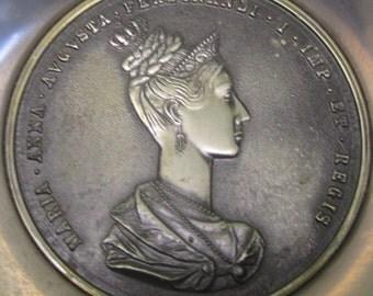 Maria Anna Augusta Ferdinandi I Commemorative Bronze Medallion Stainless Bowl - 1836 Imp Et Regis Germany - Free Shipping