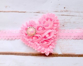Valentines day heart headband, pink shabby chic heart headband, baby valentines day headband, hair accessories,photo prop