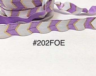 "2/3/5 yard - 5/8"" Gold, Purple and White Fold Over Elastic Headband Hair Accessories"