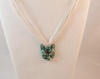 Aqua Blueish Green Cat Face 164N