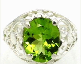 Fall is coming, 30% off, SR004, Peridot, 925 Sterling Silver Ring