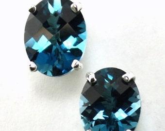 Summer Sale, 30% Off, SE002, 8x6mm London Blue Topaz, 925 Sterling Silver Post Earrings