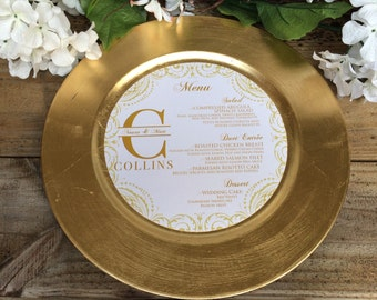 "Round Menu, Circle Menu, 8"" ROUND MENU, Charger Menu, Reception Menu Cards - for weddings, bridal events, and dinner parties"