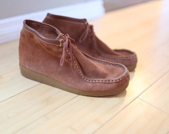 vintage brown suede leather wedge ankle boots lace up 9 1/2