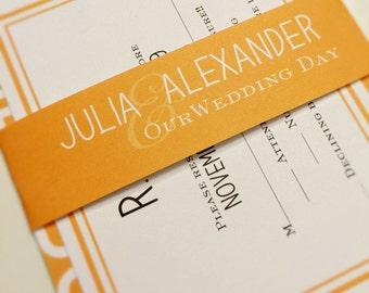 wedding invitations Modern wedding invite orange suite