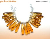 35%Dis 3 Strands AAAA 9 Matched Pair 35mm Vivid Brandy Citrine Quartz Faceted Long Tear Drop Briolette Beads Strand