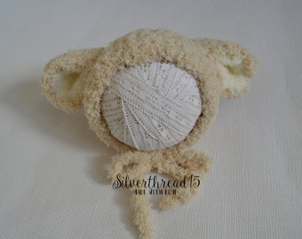 Sheep Hat Newborn Baby Hat, Knit Newborn Hat, Crochet baby Hat, baby hat