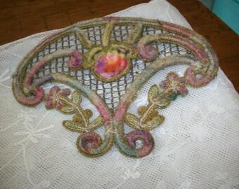 Wonderful metallic antique appliqué with ombre velvet silk lovely chenille beau vais