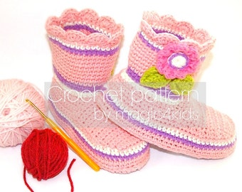Crochet pattern - toddler boots with DIY felted soles,felt soles tutorial included,all kids sizes,home booties,slippers,footwear,shoes