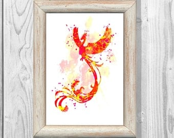 Harry Potter Print  Phoenix Watercolor Poster  Giclee Wall  Art Print  Home Decor Instant Digital Download