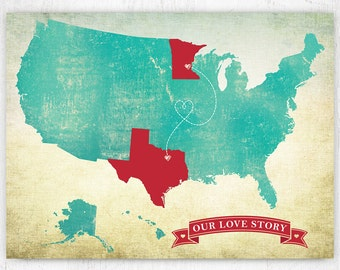 Customized US Map art print / United States Map / 8x10 / Personalized Wall Art Digital Poster