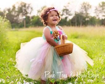 Flower girl dress-Mint Pink and Gold Flower girl dress- Mint Pink and Gold flower girl dress-Mint Pink and gold flower girl dress