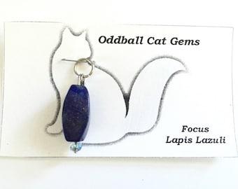 Lapis Lazuli Gemstone Collar Charm, For Dog Collars & Cat Collars, Reiki Infused Healing Gems