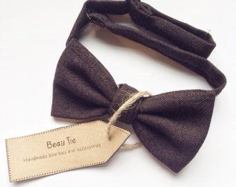 Tweed bow tie, wool bow tie, mens bow tie, brown bow tie,  mens tweed bow tie