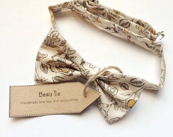 Floral bow tie, mens bow tie, yellow bow tie, cotton bow tie, bird print