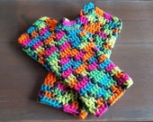 Neon Fingerless Mitts - Driving Gloves - Texting Mitts