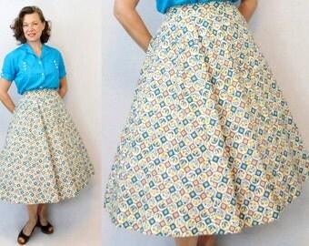 1940s Skirt / 40s Skirt / Feedsack Skirt / Feed Sack Skirt / Novelty Print Skirt / 50s Skirt / 1950s Skirt / Full Skirt / Circle Skirt