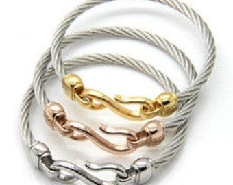 Silver S Hook Cable Bracelet, Cable Bracelet, Stainless Steel, Titanium, Hook Cable Bracelet