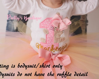First Birthday Bodysuit or Shirt -- Bunny Birthday bodysuit - Easter Birthday-- Spring Birthday shirt -- 1st Birthday Shirt Bunny