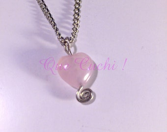Heart Pendant  Rose quartz