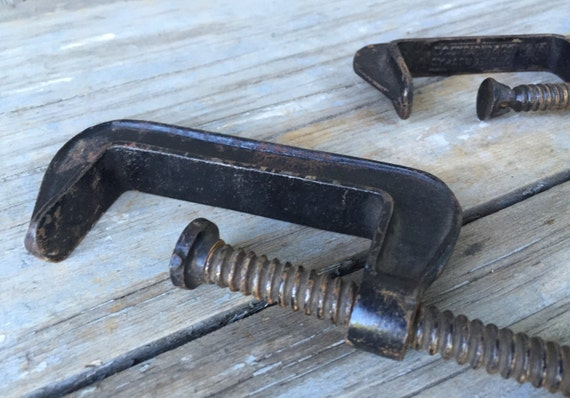 Vintage cast iron clamps, set of 2 from macandmarys on ...