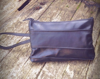 Black leather clutch with strap-clutch bag