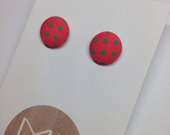 Orange/Mint Retro Fabric Covered Polka Dot Stud Earrings Surgical Stainless Steel