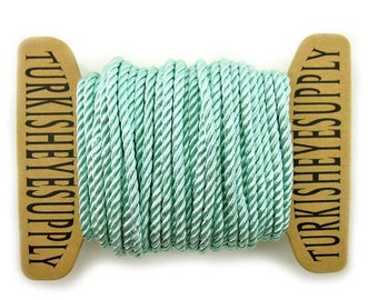 3.50 mm Mint Green Twisted Silk Rope, 1 Meter Rayon Satin Cord For Necklace or Bracelet, Jewelry Supplies