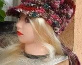 Crocheted Women Hat ,Gypsy Hat ,Mori Girl Hat ,Warmer Hat ,Women Hat ,Colorful Crocheted Hat