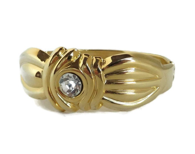 Vintage Clamper Bracelet - Chunky Gold Tone Rhinestone Bracelet, Perfect Gift, Gift Box, FREE SHIPPING