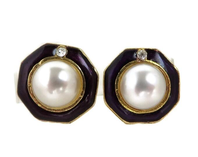 Octagon Pearl Earrings, Vintage Purple Enamel Earrings, Faux Pearl & Rhinestone Clip-on Earrings