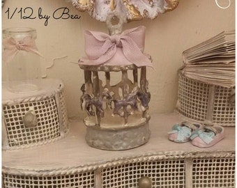 1/12 baby carousel dollshouse miniature hand painted by Bea victorian style