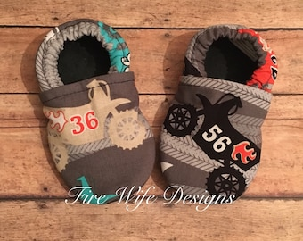 Dirt Bike Motorama Soft Sole Baby Shoes, Crib Shoes, Baby Slippers, Baby Booties, Baby Mocs, Vegan Baby Shoes