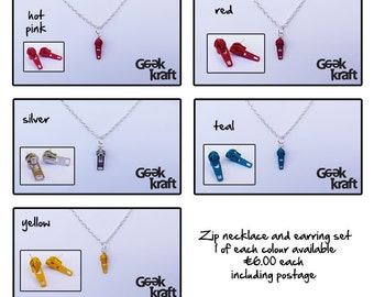 Zip necklace and earrings set, alternative jewellery