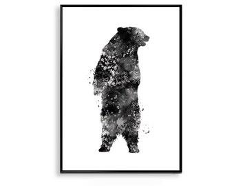 Bear Print, water-colour Black Bear Art, Bear Wall Art, Black Bear Art Black Bear Decor watercolor poster bear animal water-colour art WT34
